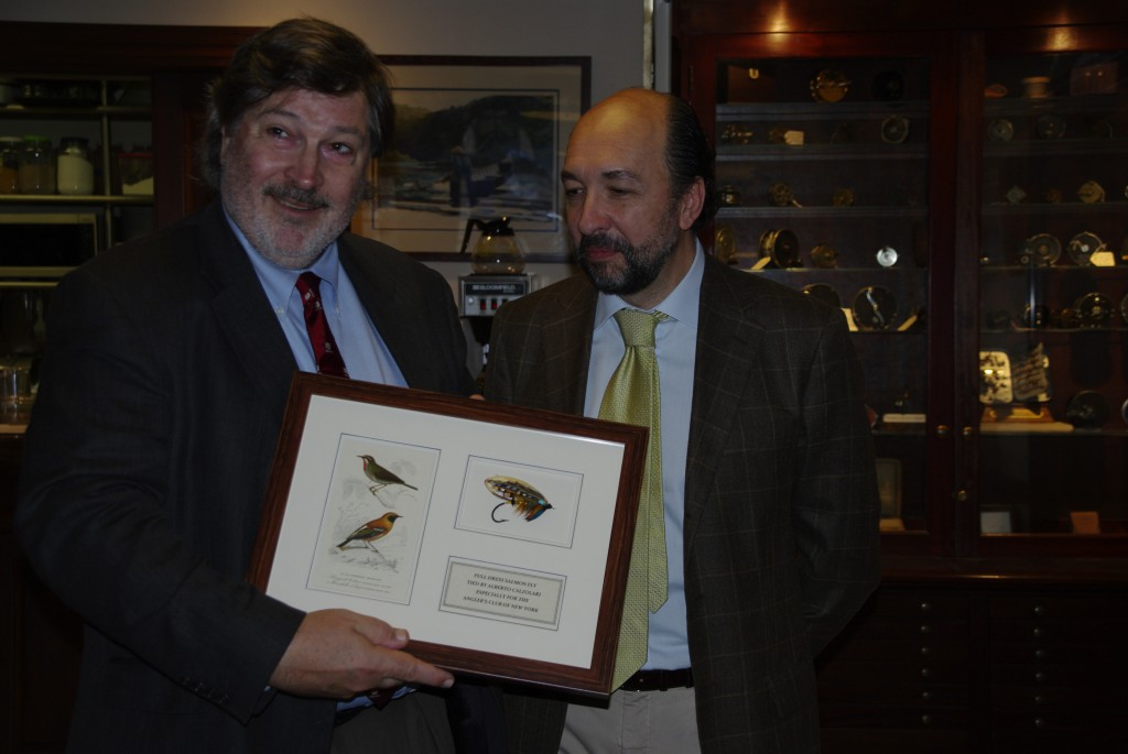 Presenting a fly to Mr Greg Belcamino at the Anglers's Club of NY